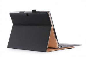 armourdog® folio case for the Lenovo Miix 320 in black with tan lining